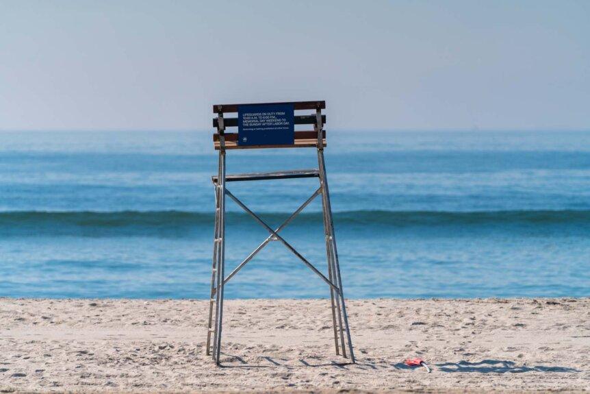 Rockaway Beach lifeguard chair in NYC