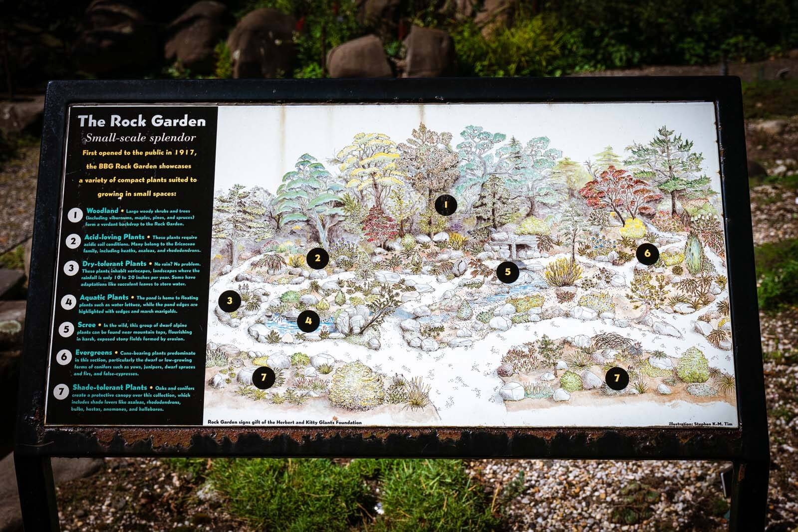 The Rock Garden sign at Brooklyn Botanic Garden