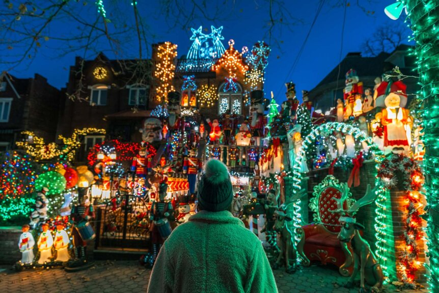Looking at the Lucy Spata House in Dyker Heights at Christmas in Brooklyn