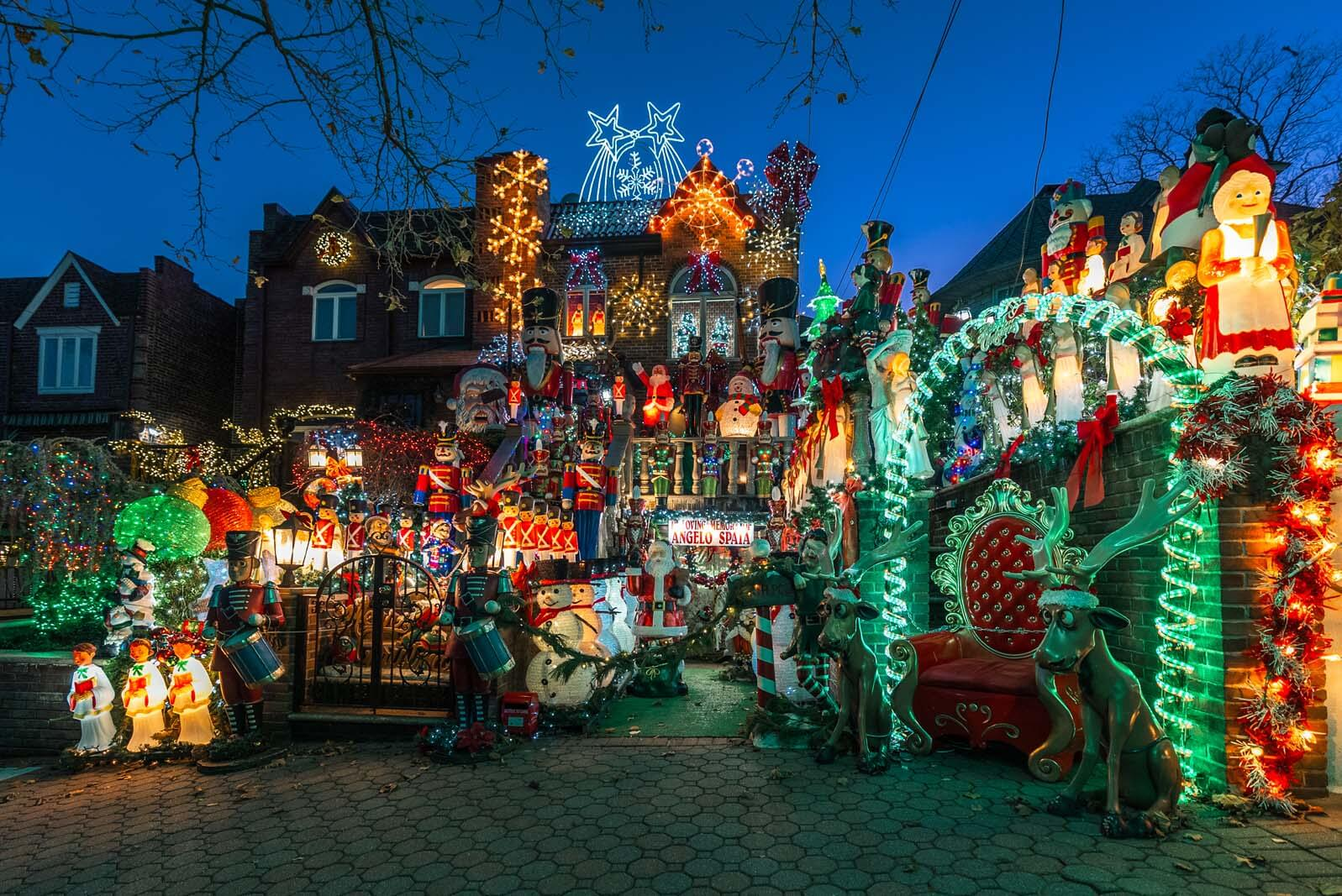 Lucy Spata house at christmas in dyker heights in brooklyn