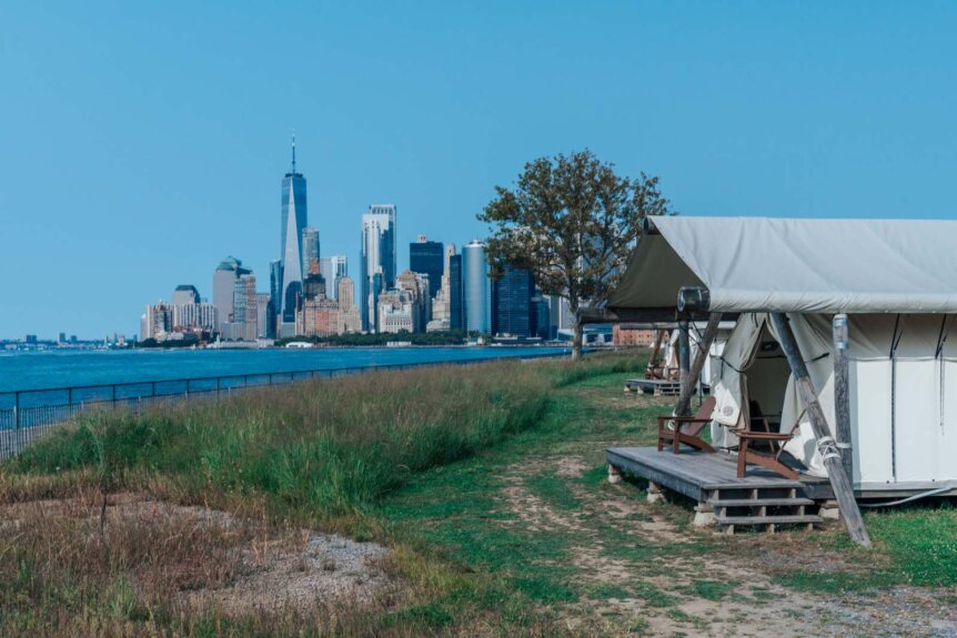 Governors Island glamping with Collective Retreats in NYC view of WTC