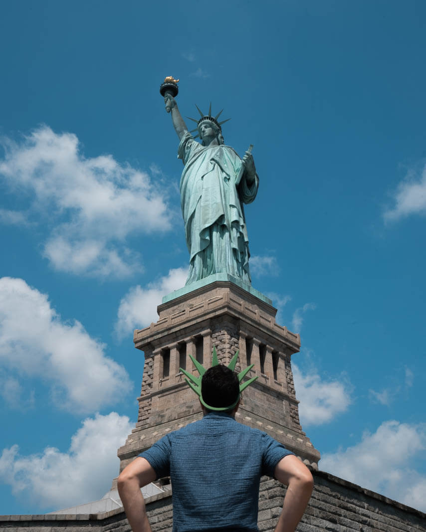 Looking at the Statue of Liberty from Liberty Island in NYC