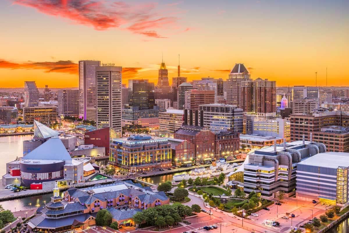 city scene of Baltimore Maryland