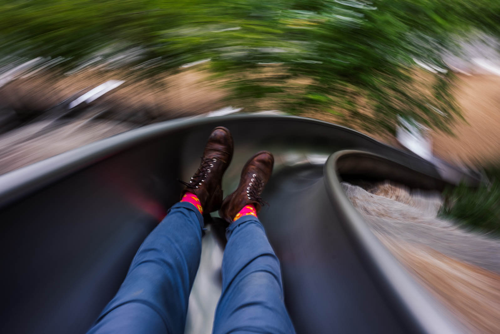going fast down the slide at Governors Island in NYC