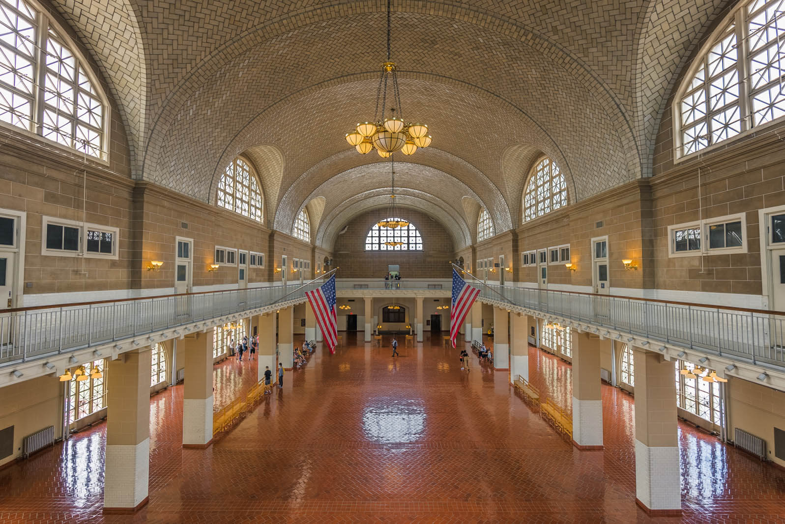 inside the hall at Ellis Island on the Statue of Liberty Tour in NYC
