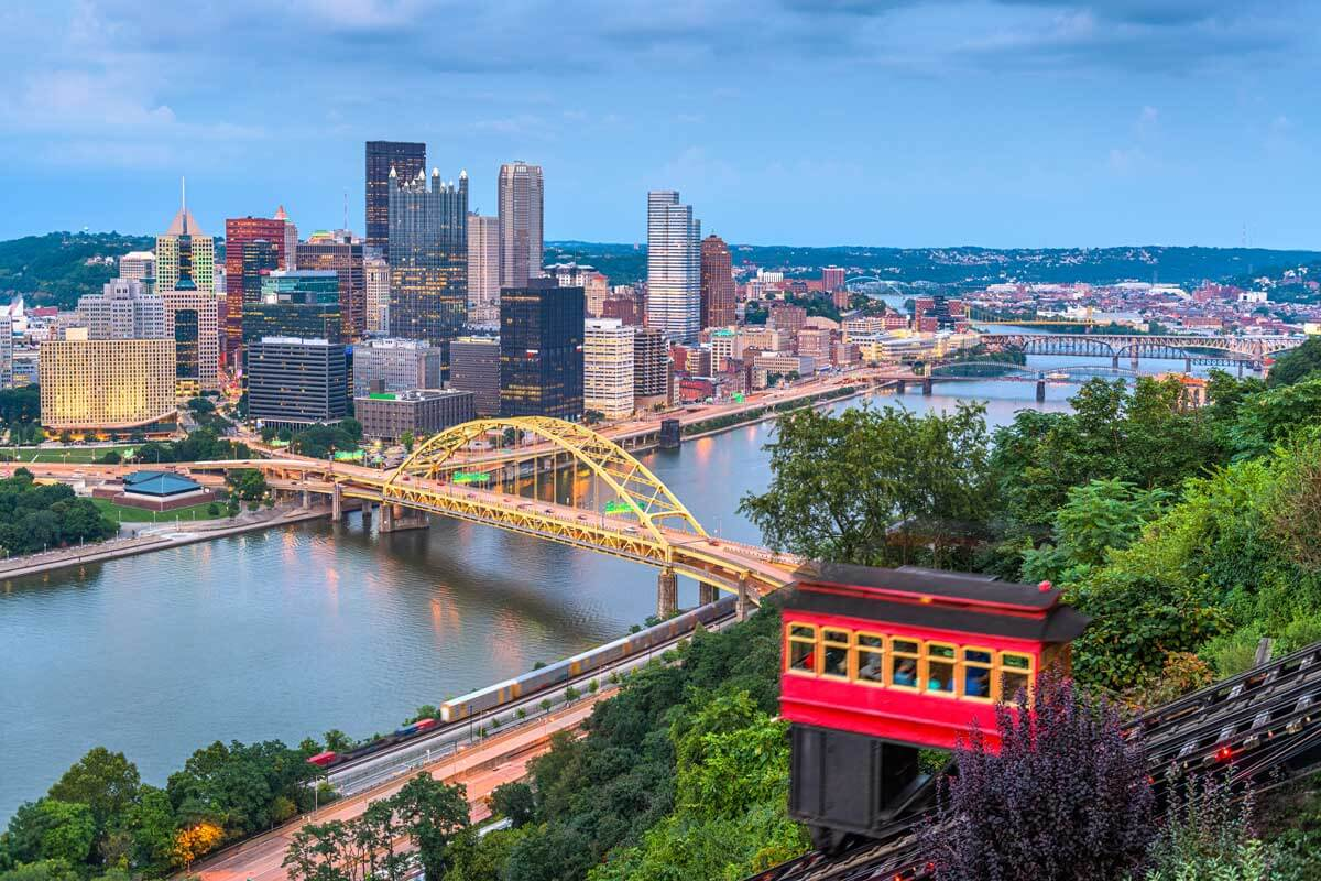 downtown Pittsburgh Pennsylvania from above