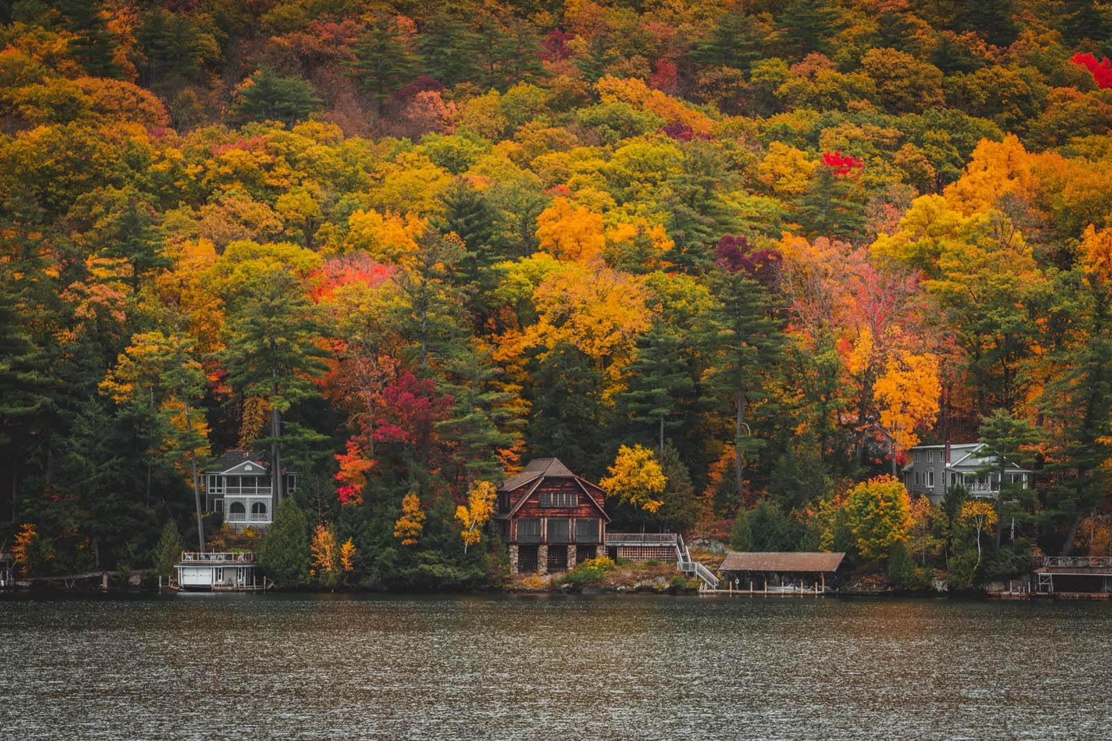 pretty fall foliage and cabin in Lake George NY