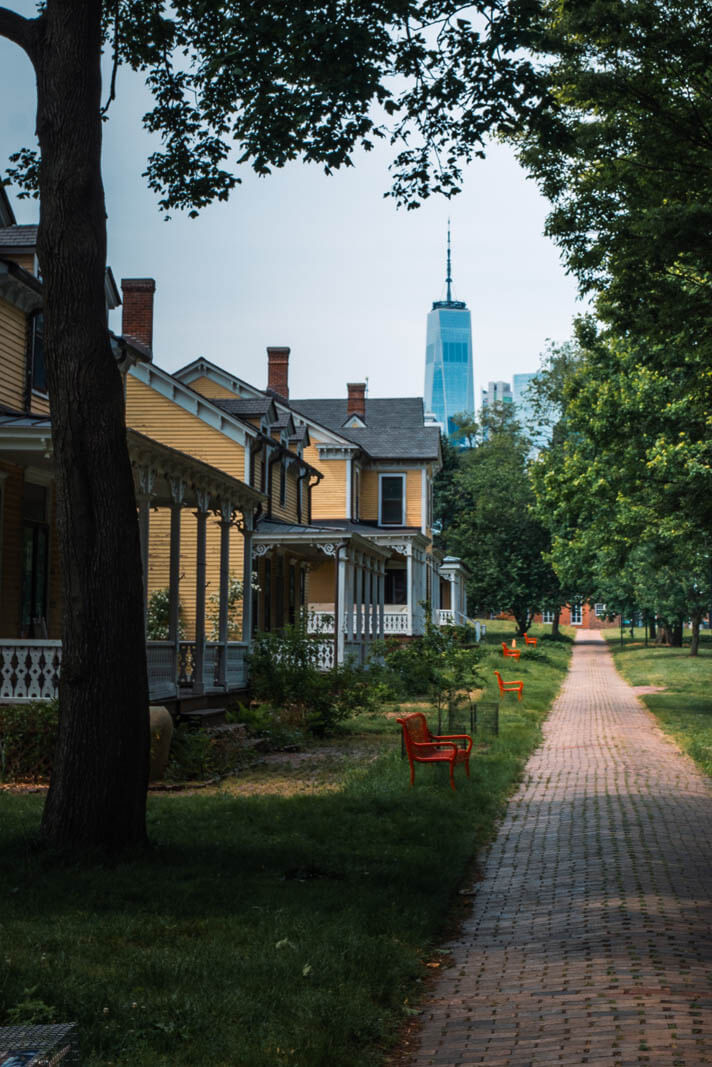 yellow houses along Nolan Park at Governors Island in NYC