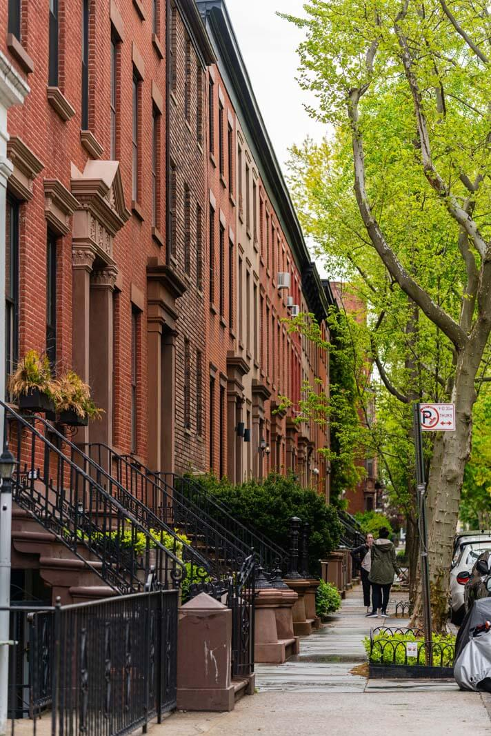 Beautiful row of homes in Carroll Gardens Brooklyn