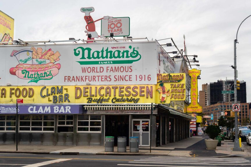 Nathans Famous Hot Dogs original locations on Surf and Stillwell Avenues in Coney Island Brooklyn
