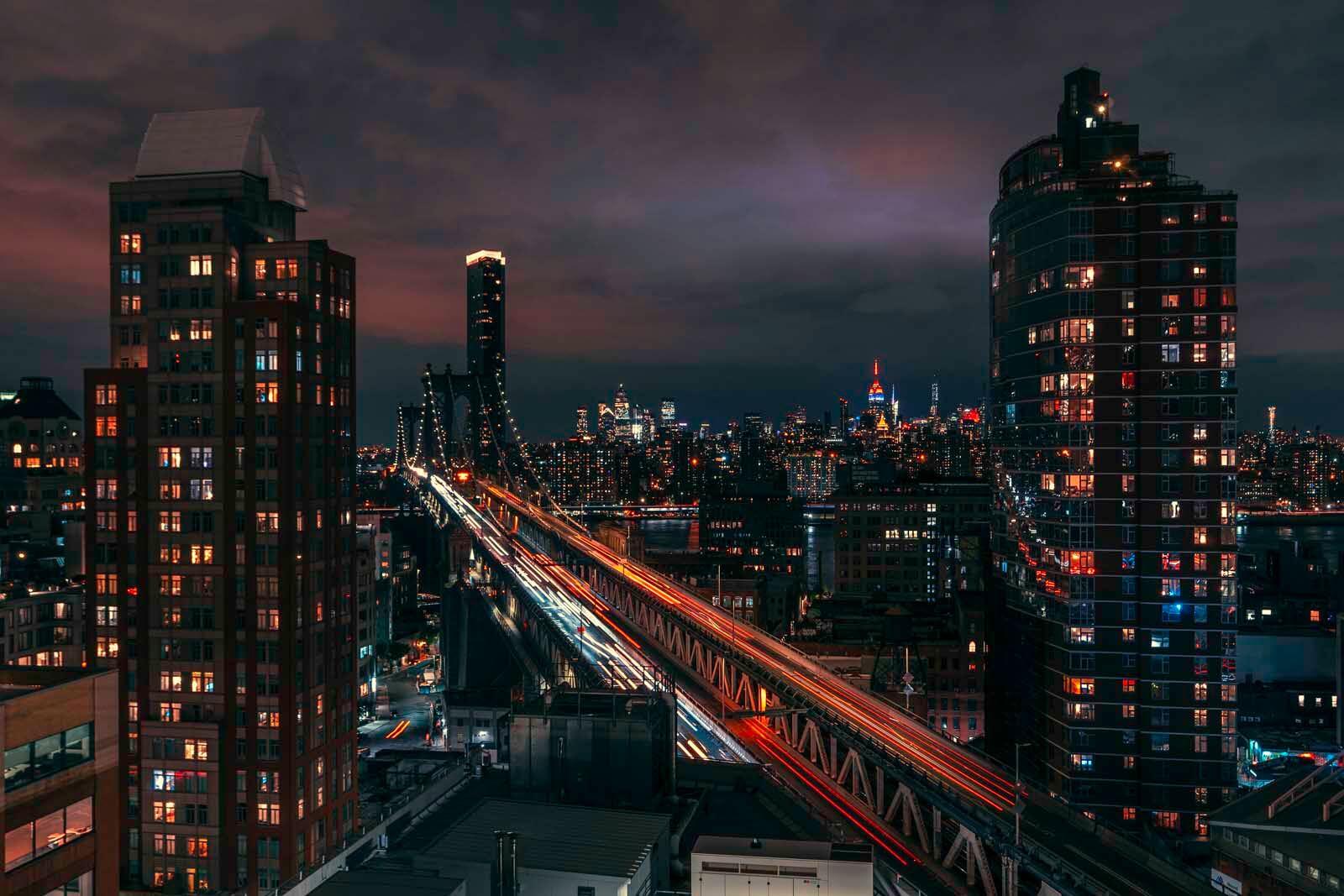 Randolph Beer rooftop view in DUMBO of the Manhattan Bridge in Brooklyn
