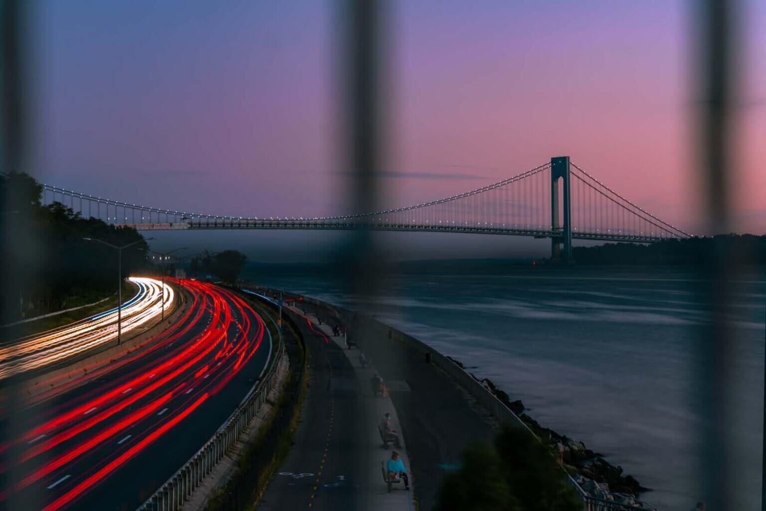 The Verazzano Bridge from Old Glory Lookout at Bayridge Brooklyn