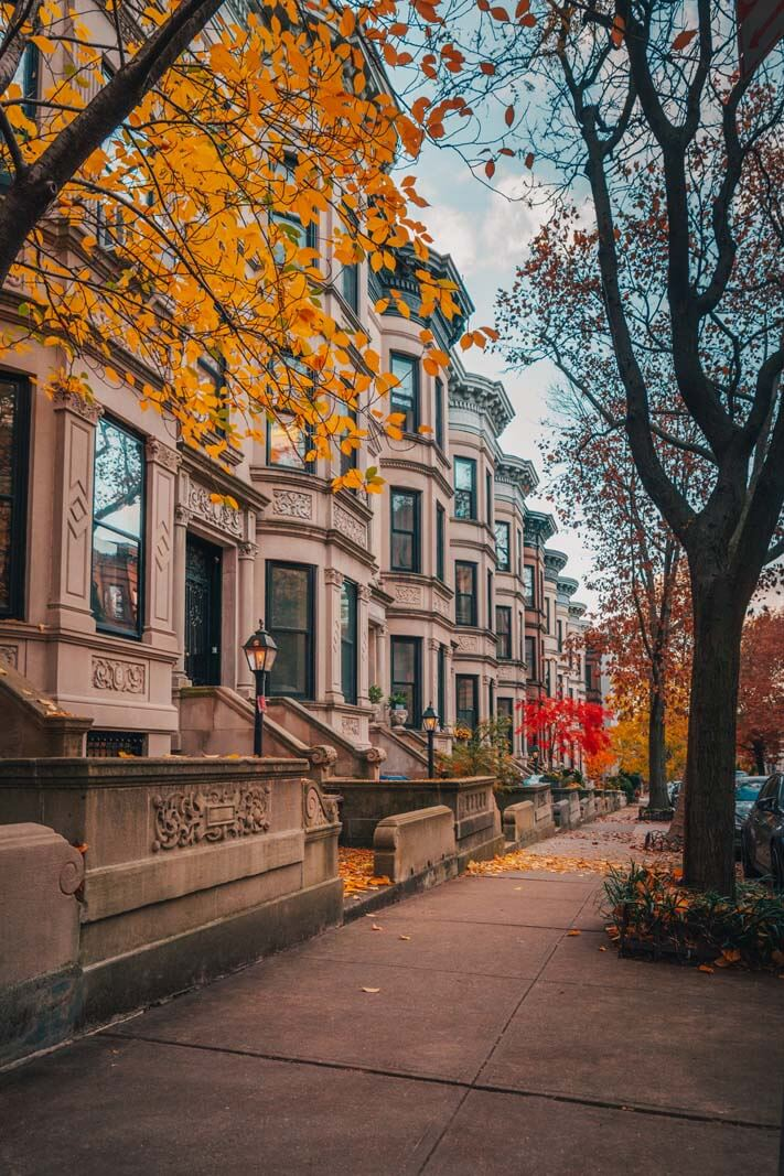 beautiful row houses in Park Slope Historic District Brooklyn