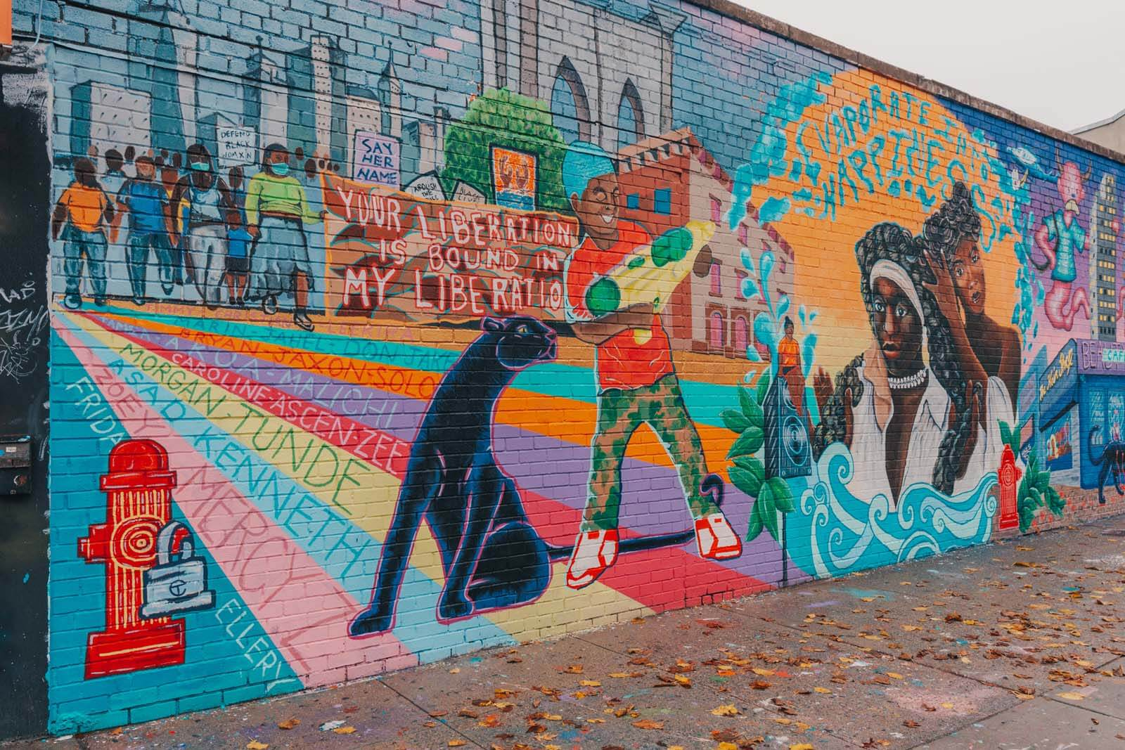 mural at public assitants in crown heights brooklyn