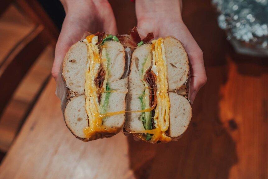 Bagel Pub bagel in brooklyn ABC sandwich