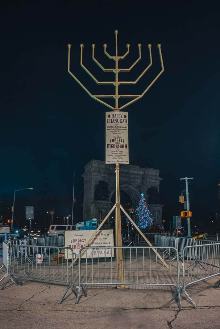 Brooklyns largest menorah at Grand Army Plaza during the holidays