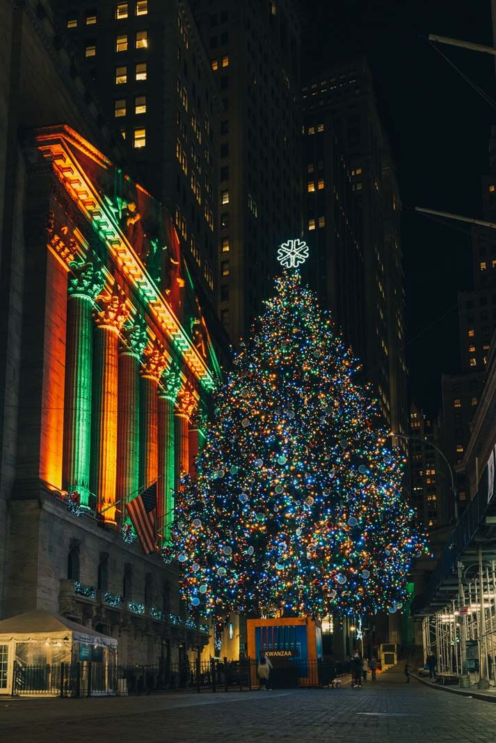 christmas tree at the New York Stock Exchange in Manhattan