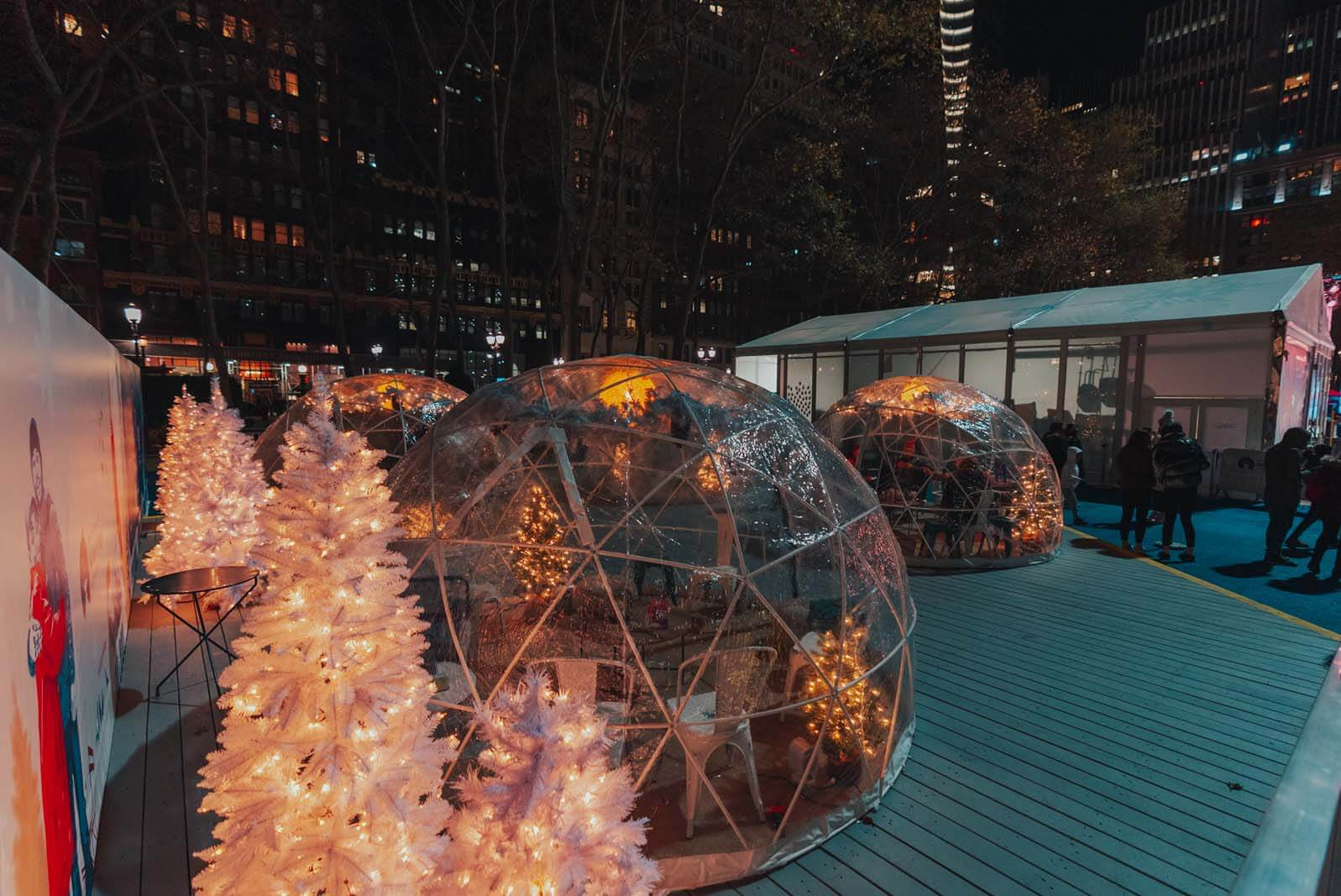 winter igloos at Bryant Park Winter Village in NYC