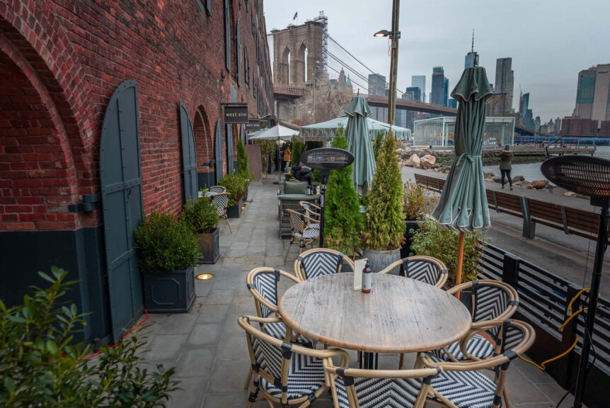 Heated outdoor dining in DUMBO Brooklyn at Cecconis