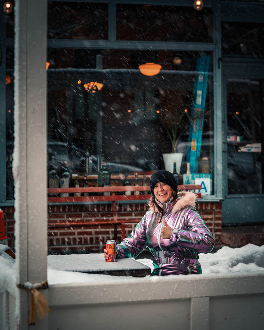 snowsuit dining in the winter in nyc