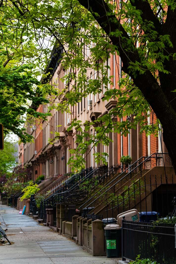 Gorgeous row houses and brownstones in Carroll Gardens in Brooklyn