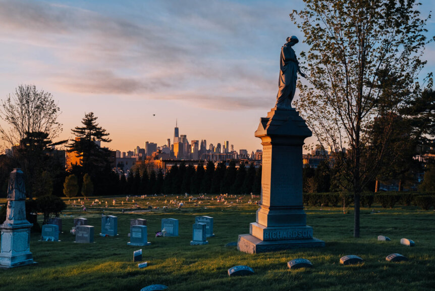Green-Wood Cemetery at sunset in Sunset Park Brooklyn