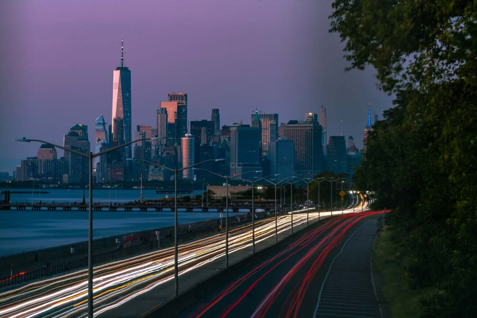 Old Glory Lookout in Bay Ridge Brooklyn view of Lower Manhattan and one world trade center in nyc