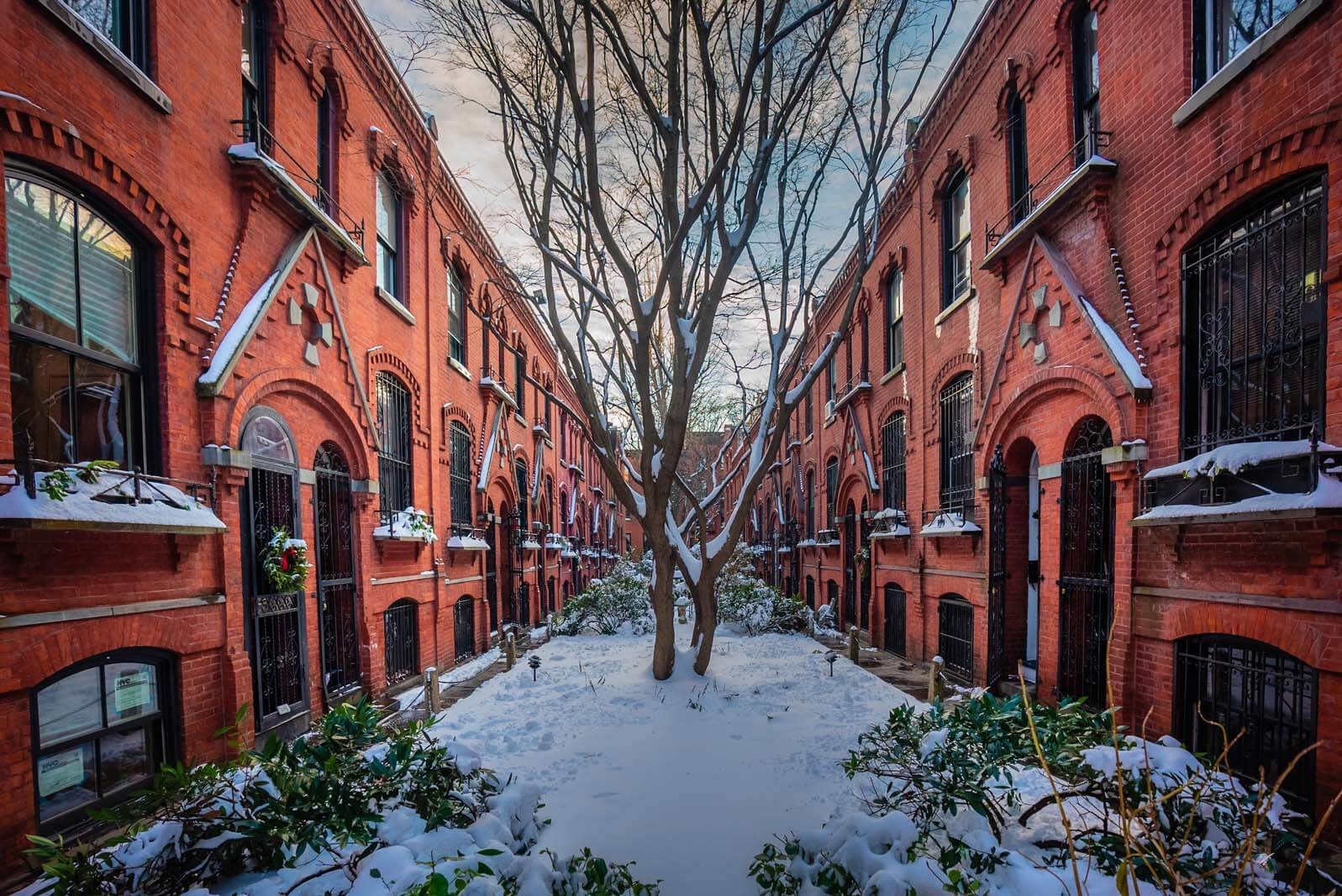 Warren Place Mews in Cobble Hill Brooklyn during winter