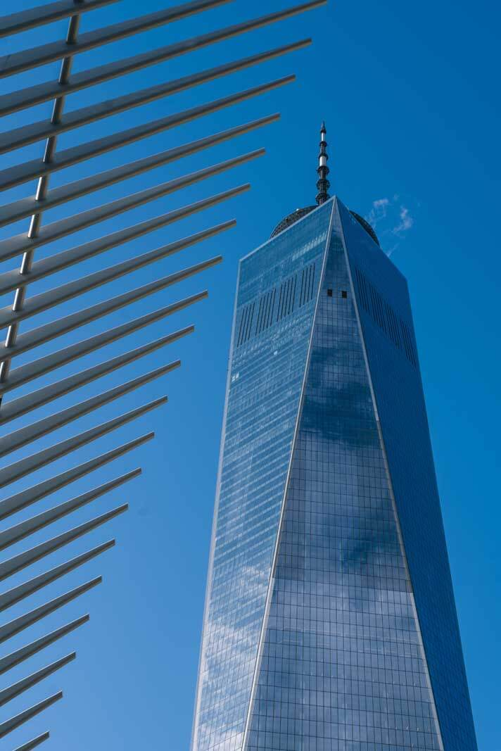 World Trade Center view from outside in NYC