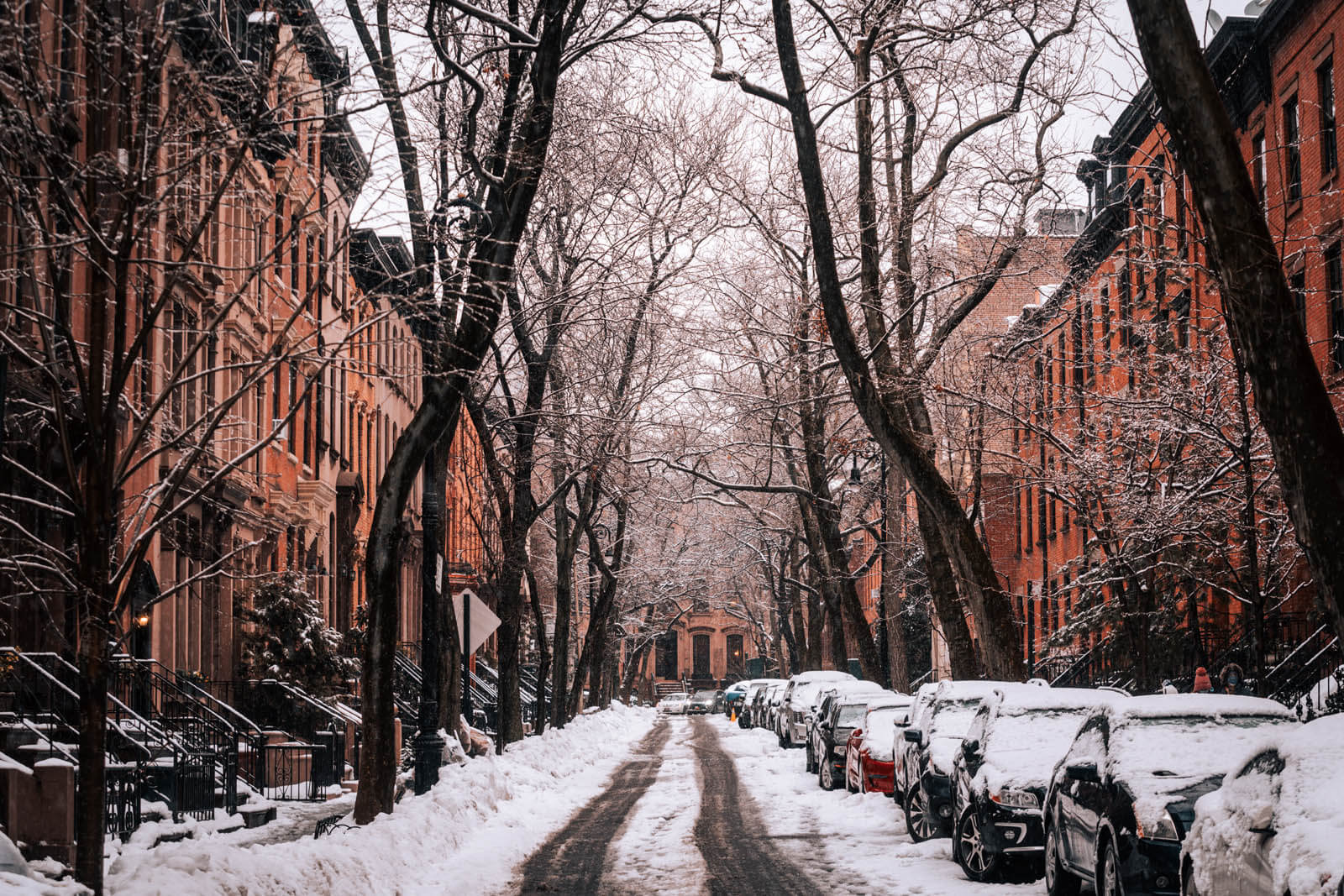 gorgeous brownstones in Brooklyn Heights in the snow