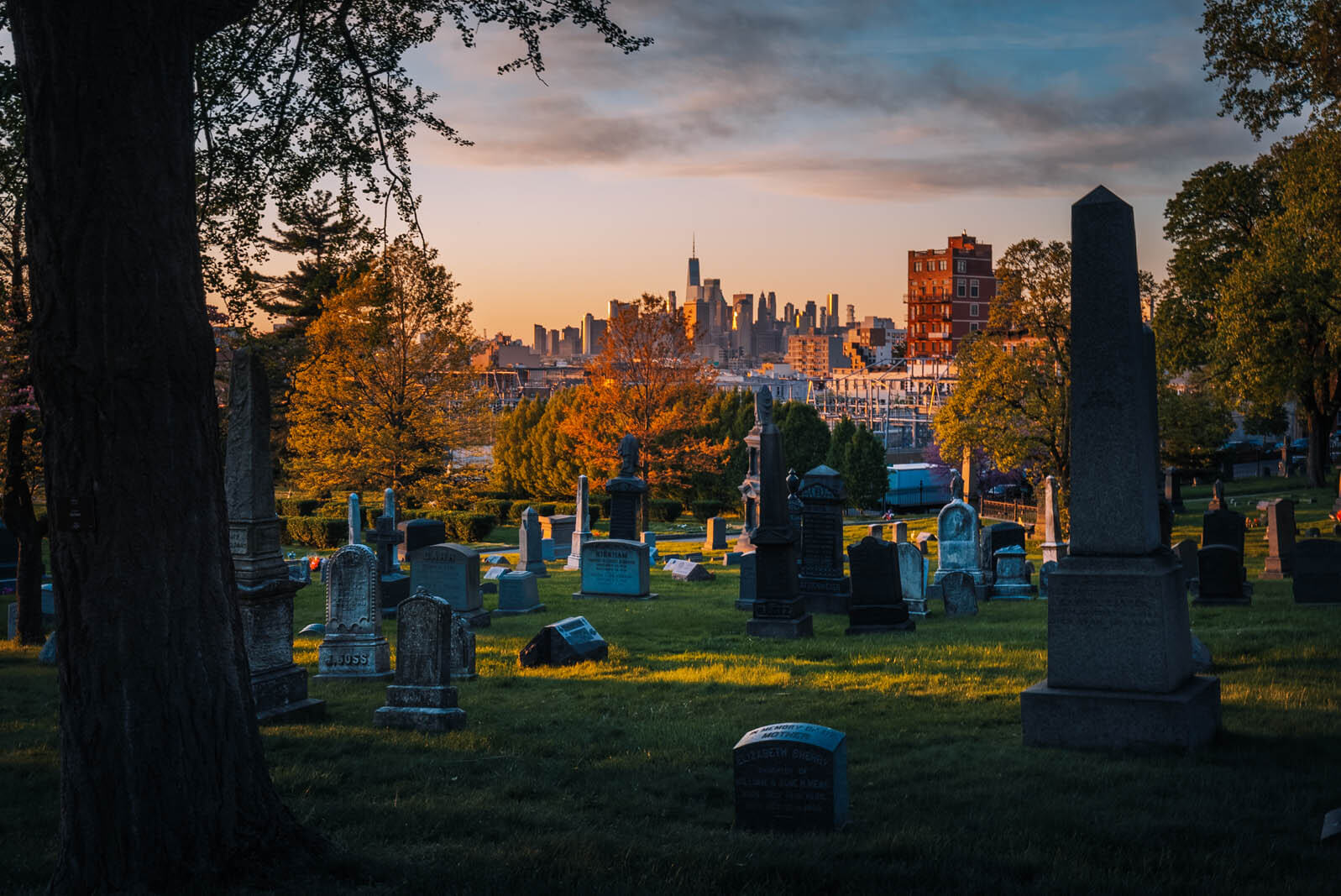 gorgeous sunset view at Green-wood cemetery in Brooklyn