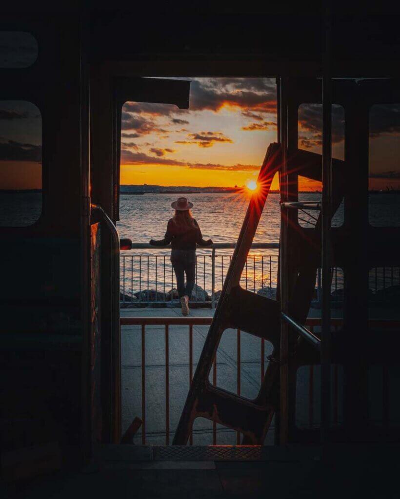 A Girl enjoying a Brooklyn Sunset in Red Hook