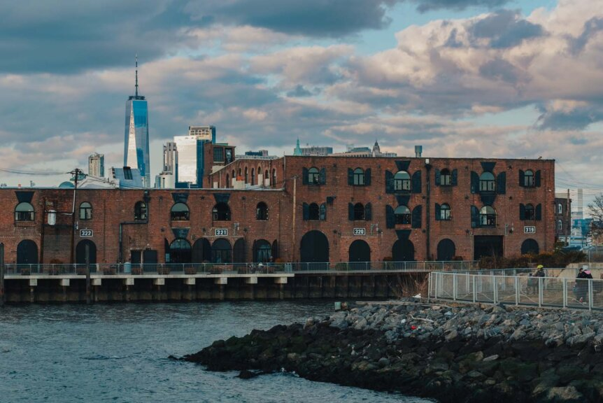 Brooklyn Sunset Location in Red hook with View of Industrial Building and 1 World Trade Center