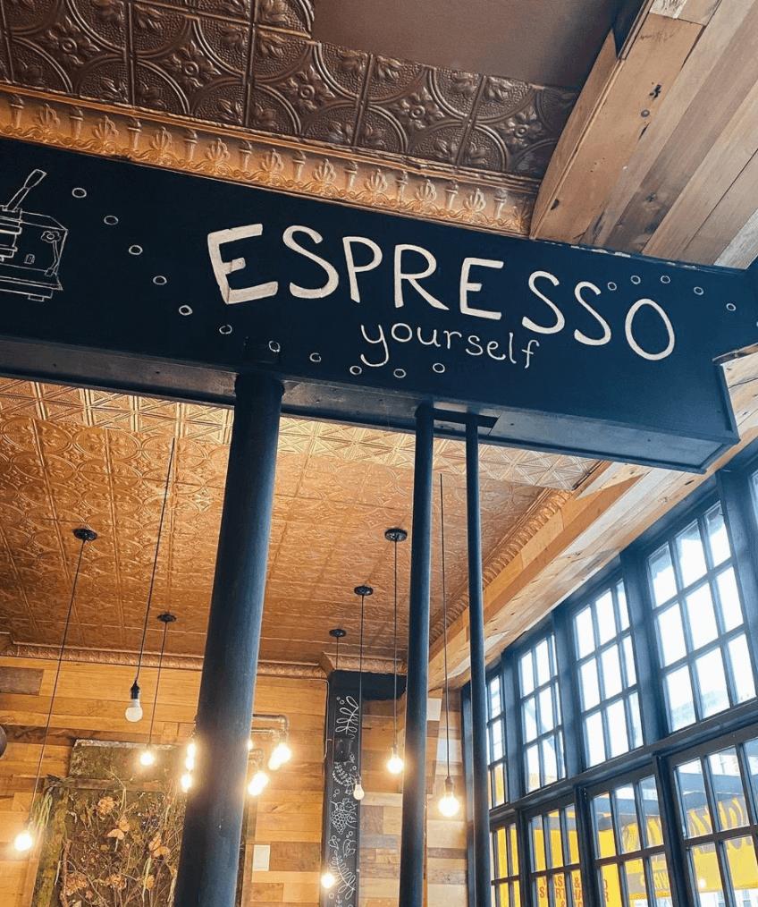 Cocoa Grinder Boca Del Cielo cafe in Bay Ridge Brooklyn coffee shop by Quoffee Quest