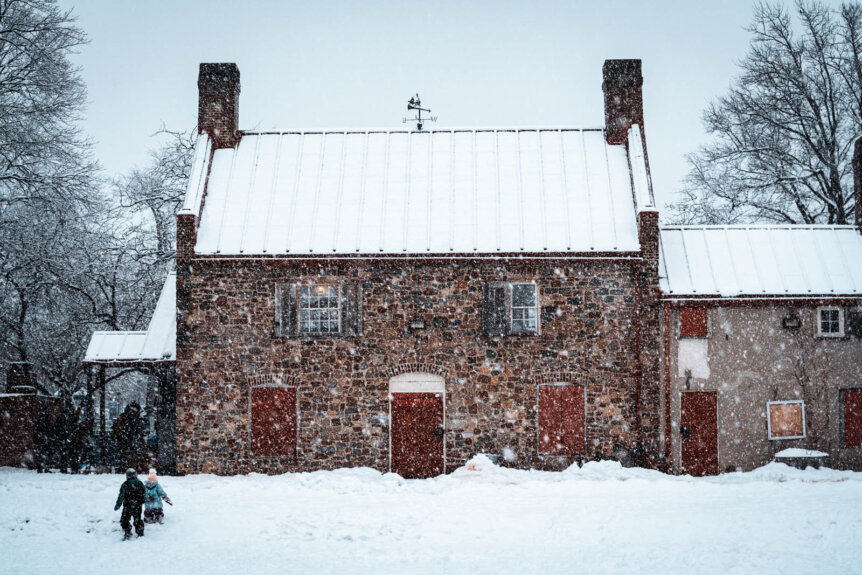 Old Stone House in Park Slope Brooklyn on a snowy winter day