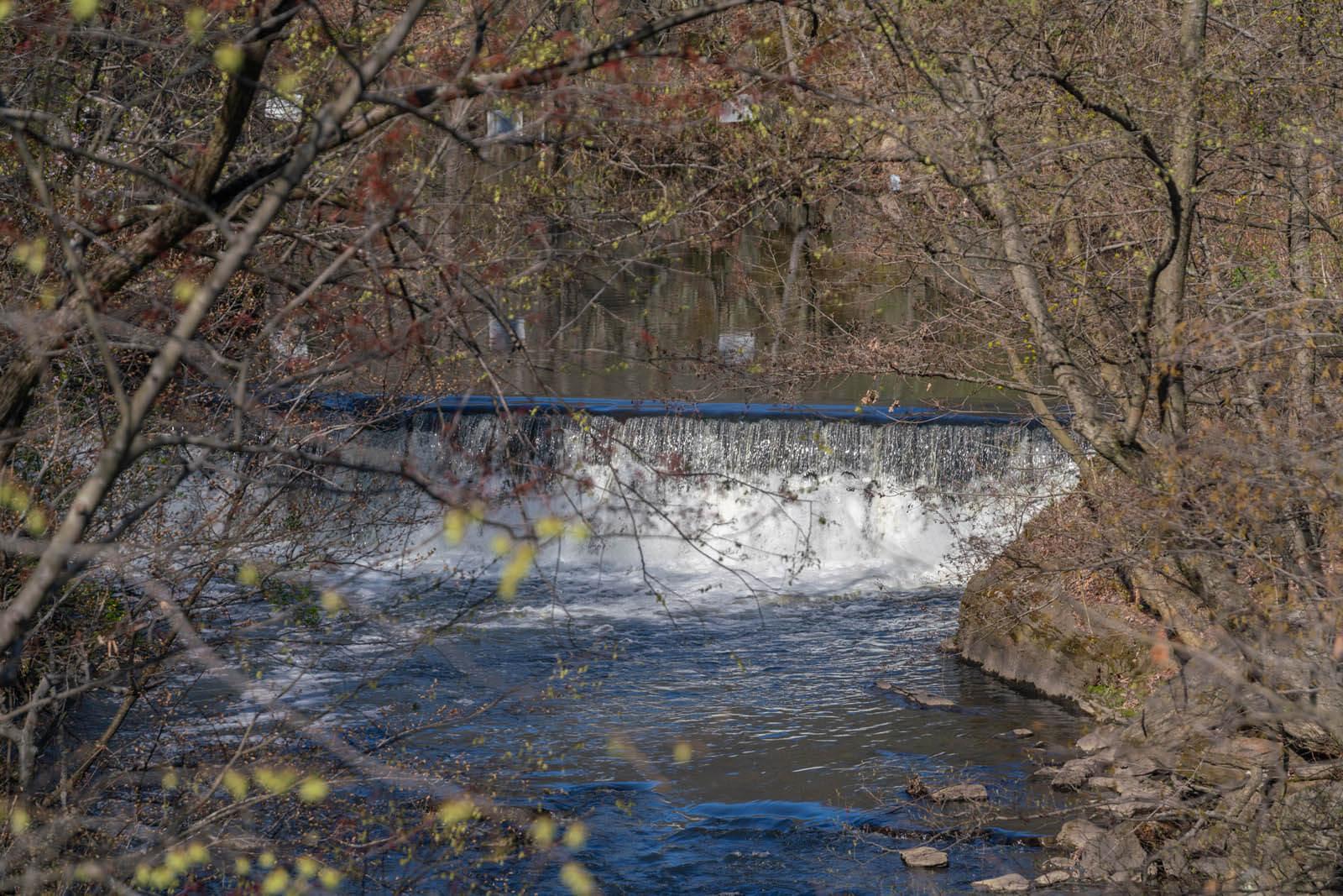 Snuff Mill waterfall in New York Botanical Garden in the Bronx