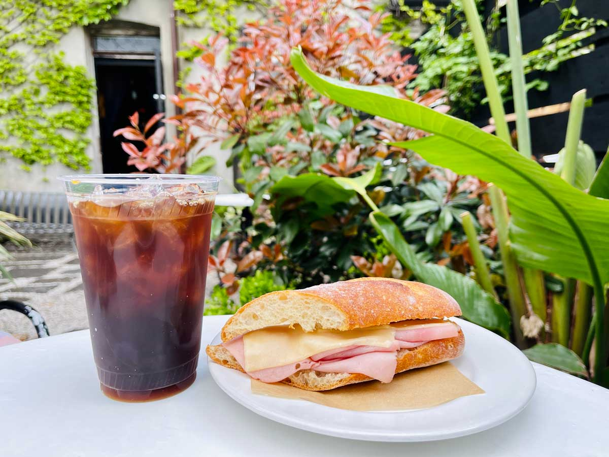 ice-coffee-and-baguette-sandwich-from-the-black-flamingo-cafe-in-red-hook-brooklyn