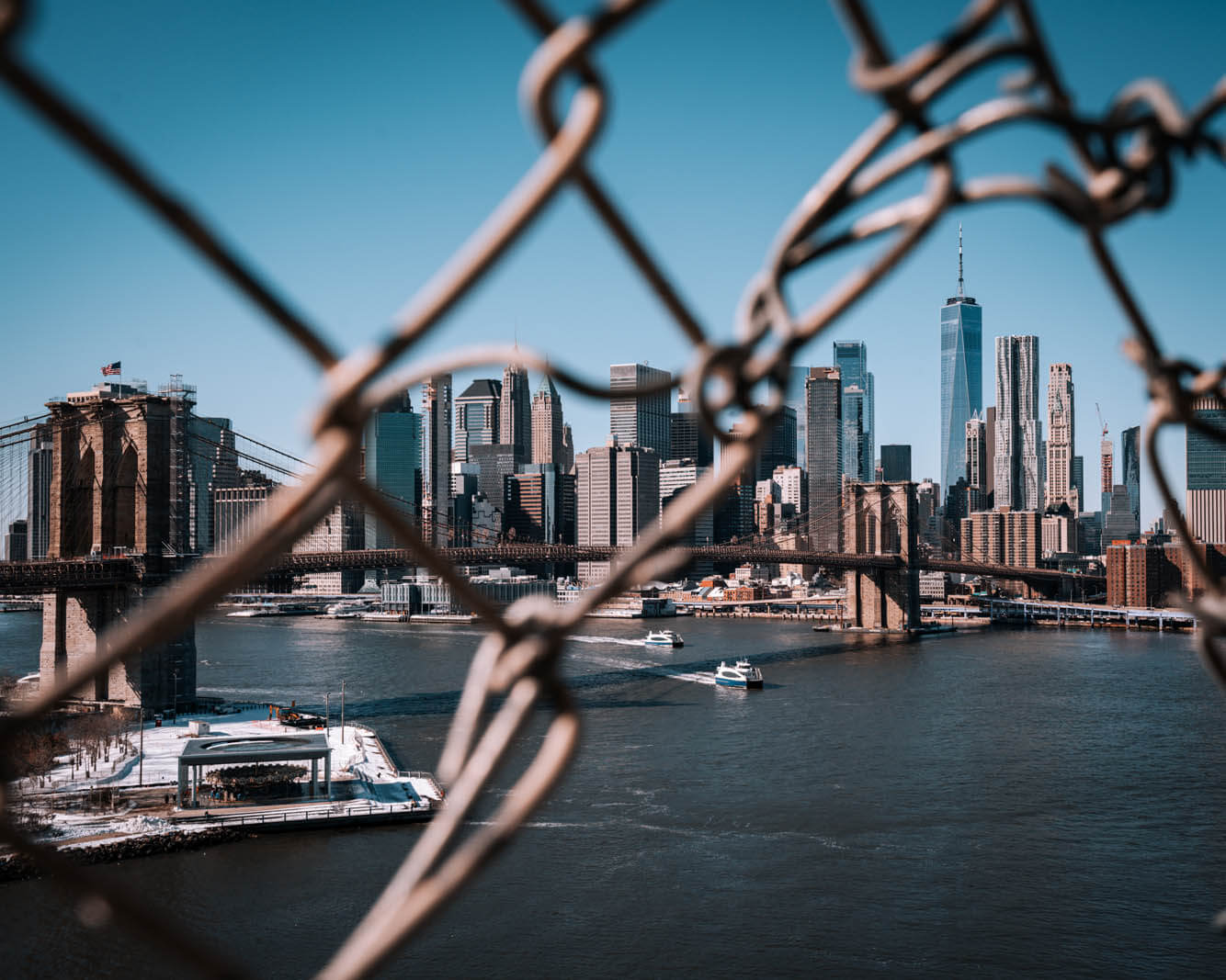 view from the Manhattan Bridge walk in NYC
