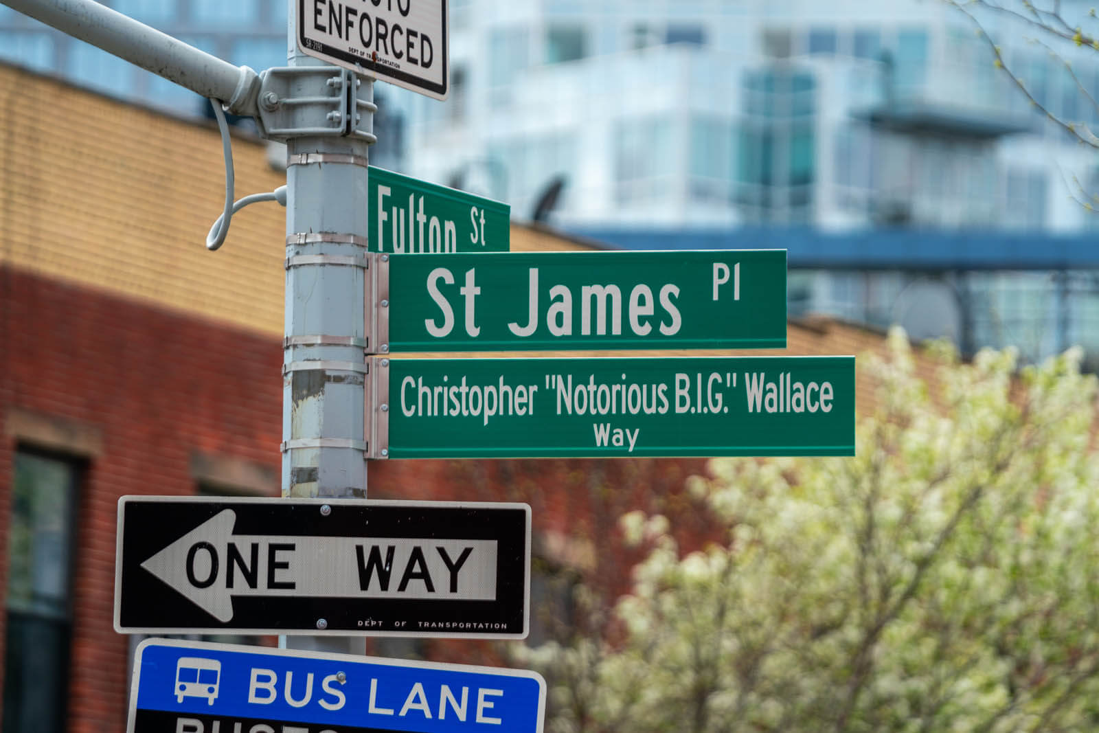 Christopher Wallace Way at the corner of St James Pl and Fulton in Clinton Hill biggie smalls Brooklyn