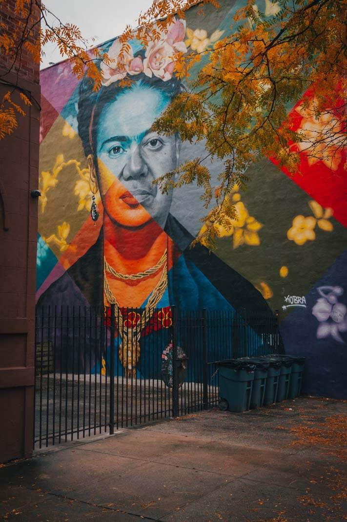 Frida and Diego Kobra mural in Prospect Heights Brooklyn