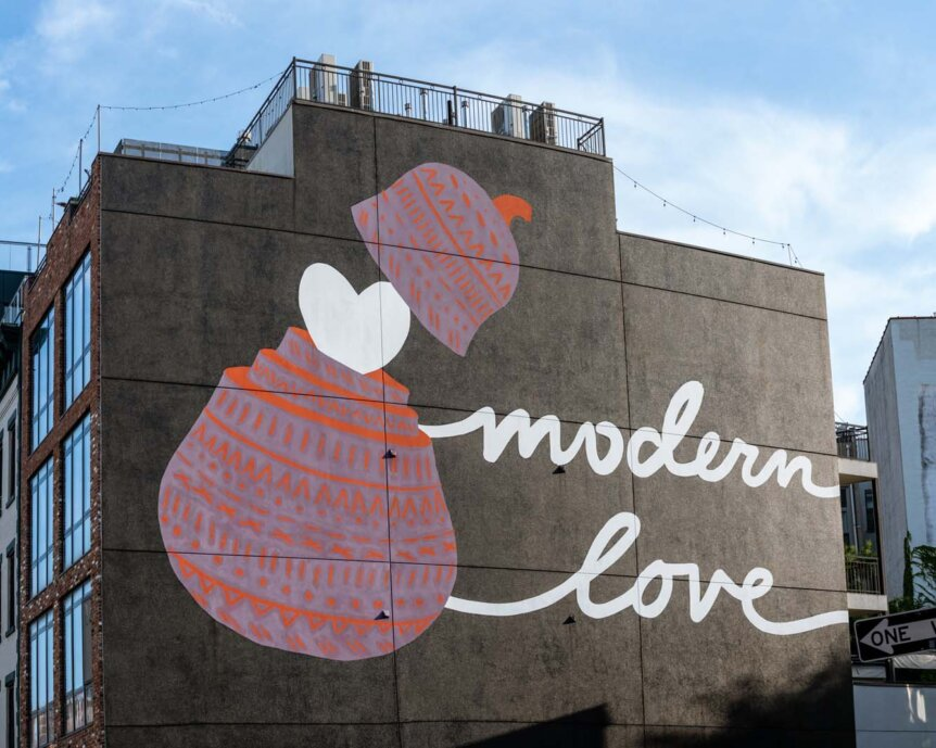 Modern Love vegan restaurant mural in Williamsburg Brooklyn