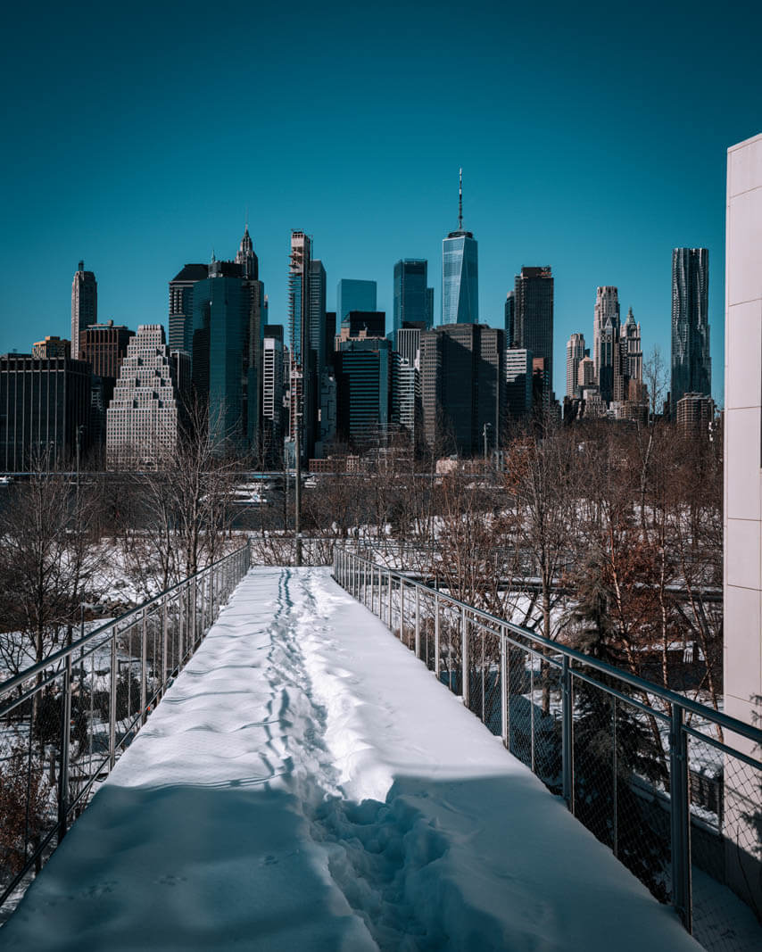 View from Brooklyn Heights and Squibb Park walkway in the snow of the NYC city skyline