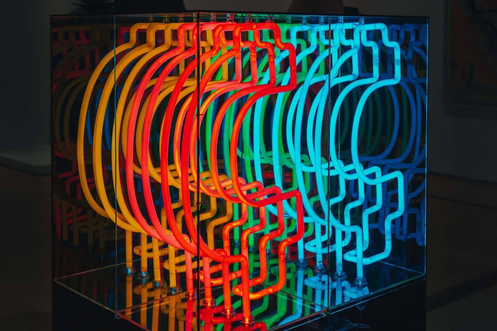neon exhibit inside the Brooklyn Museum