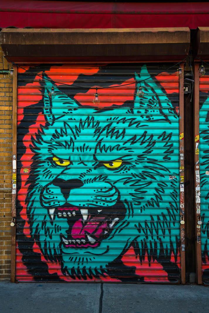 wolf Bushwick street art and mural in Brooklyn