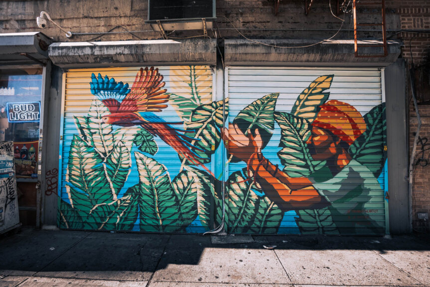 Colorful mural on Parkside Ave in Prospect Lefferts Gardens Brooklyn