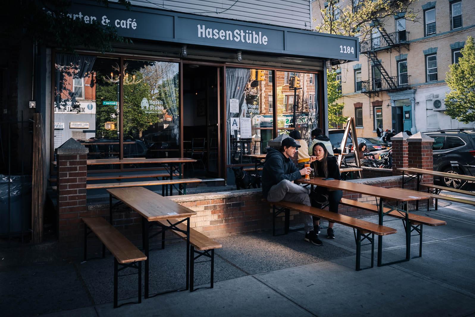 Hasenstuble beer garden in Prospect Lefferts Gardens Brooklyn
