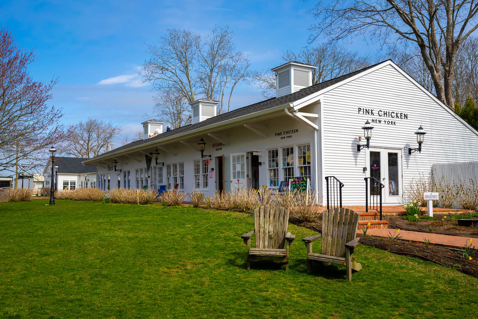 Shops in Amagansett Square in the Hamptons New York