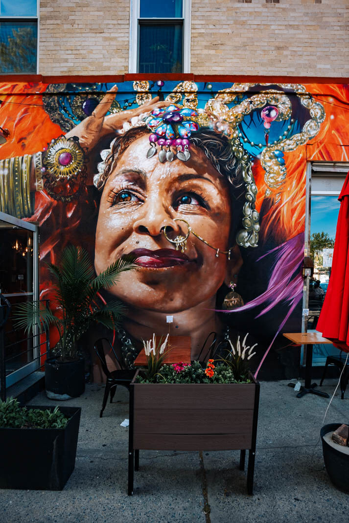 beautiful mural by Damien Mitchell at Zanmi in Prospect Lefferts Gardens Brooklyn