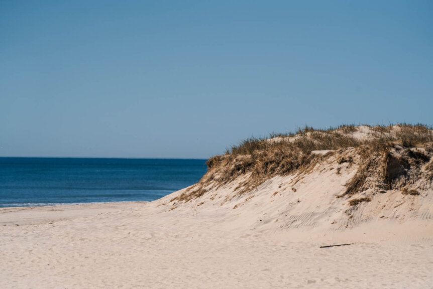 white sandy Coopers Beach in Southampton in the Hamptons Long Island New York