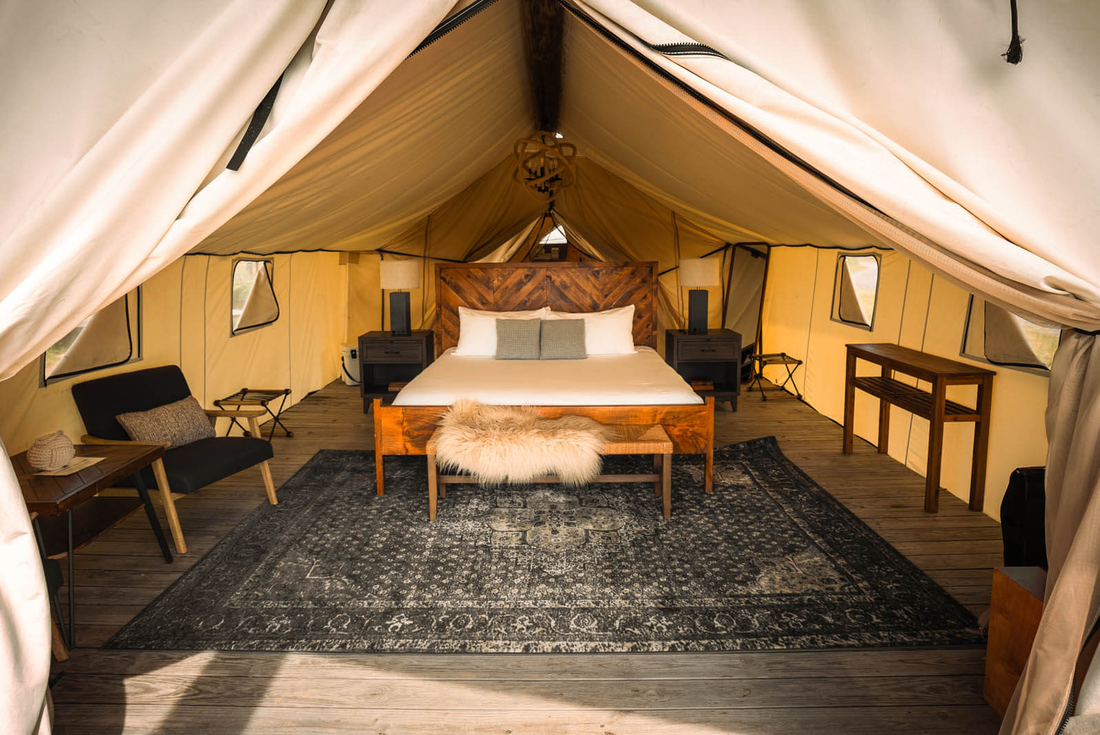inside the summit glamping tent at governors island in NYC